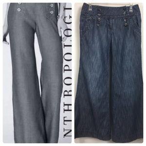 Anthropology Level 99 Sailor Wide Leg Pants Sz 28